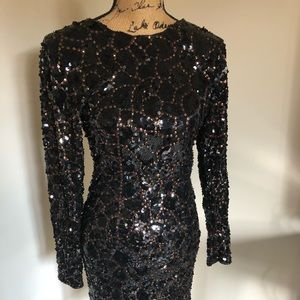 Dresses & Skirts - Vintage beaded black and gold dress